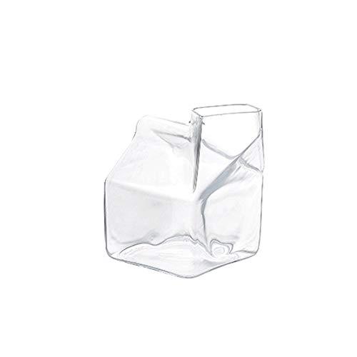 liangzishop Salsera Jarra de Crema Taza de Vidrio Transparente Taza de Alta Temperatura Resistencia de Alta Temperatura Forma única 380 ml Adecuado para el Jugo de Leche de café, etc. Platillo