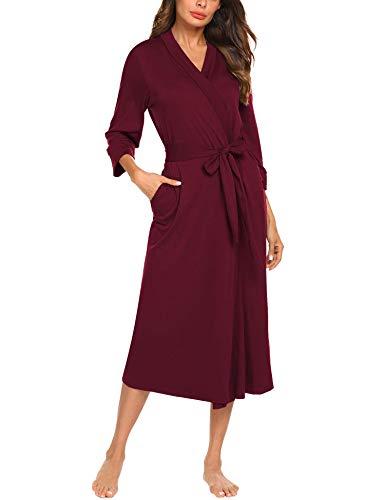 Unibelle Damen Bademantal Baumwolle morgenmantel lang leicht Kimono Maxi Dünn Saunamantel weich Robe Tasche Frauen Hausmantel Dark Red S