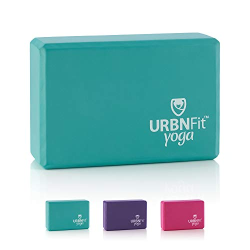 URBNFit Yoga Block - 1PC - Moisture Resistant High Density EVA Foam Block - Improve Balance and Flexibility Perfect for Home or Gym - Free PDF Workout Guide (Teal)