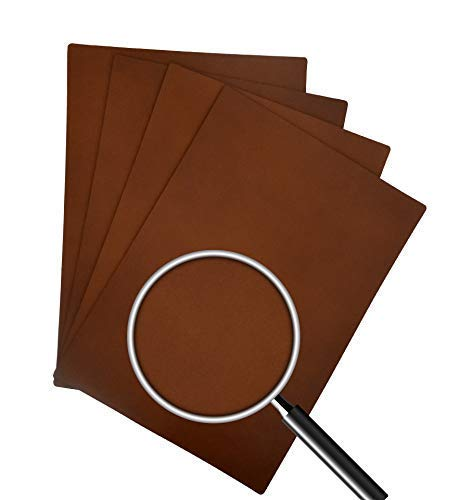 """RENACIENTE Genuine Leather Placemats, Real Cowhide 13"""" x 18"""" (4 Piece Set) (Hazelnut (Patternless))"""