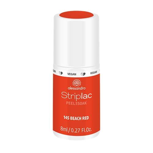 alessandro Striplac Peel or Soak Beach Red - LED-Nagellack in Orangerot - Für perfekte Nägel in 15 Minuten, 8 ml