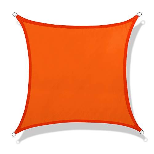NAKAMORY Sun Shade Sail Waterproof 95% UV Block for Outdoor Garden Patio Backyard (16'×16', Orange)