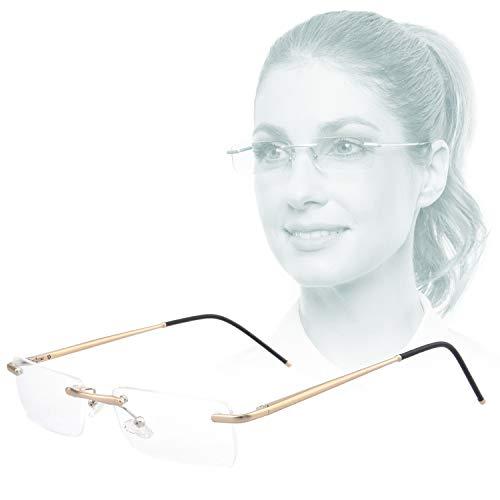 Edison & King - Randloze leesbril Clarity – Een waar sieraad met premium glazen incl. blauwfilter