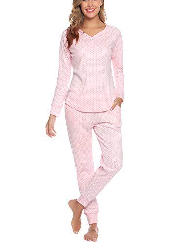 Aibrou Damen Schlafanzug Lang Pyjama Set Zweiteilige Nachtwäsche Hausanzug Sleepwear aus Baumwolle Langarm Rundhalsausschnitt Pink XL