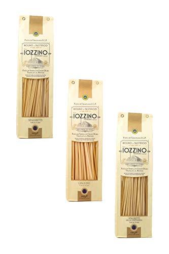 Pastificio F.lli Iozzino - Pasta di Gragnano IGP - Selezione formati Pasta Lunga 3Kg (6x500gr) | 1 Kg linguine + 1 Kg spaghetti di Gragnano + 1 Kg spaghetti alla chitarra |
