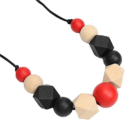 Collar de Madera,Collar de Madera Mujer&hombre,Collar de Rosario de Madera,Collar Madera Cuentas Madera Colores Mezclados Geométricos Ajustables de 100 CM / 39 Pulgadas de Longitud