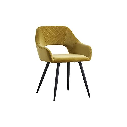 AINPECCA Esszimmerstühle, Samt, gepolstert, mit schwarzen Metallbeinen, für Wohnzimmer, Lounge, Rezeption, Restaurant (Samt, Senf, 1)