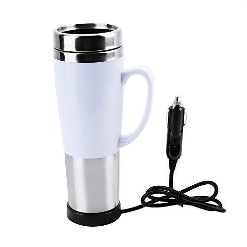 Victool Tasse de Voiture électrique, Tasse de Voiture isolée par Eau électrique 12V Tasse de Chauffage de Voyage Bouilloire pour thé au Lait de café Chaud(White)