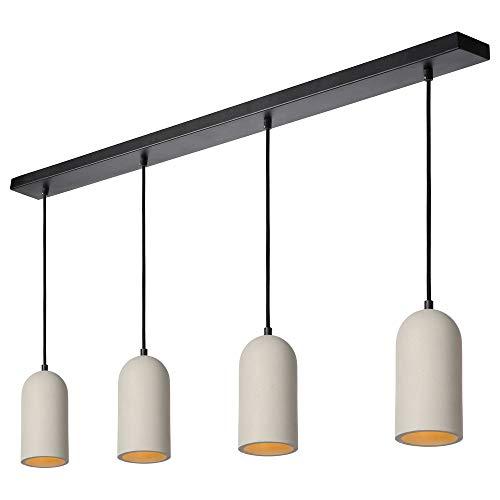Hänge- & Pendel-lampe Wohnzimmer Esszimmer moderne Taupe Schwarz Beton Metall E27 | 4-flammig