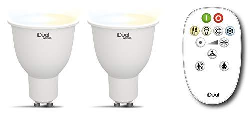 2er Pack LED Leuchtmittel iDual Whites GU10 weiss - warmweiss justierbar mit Fernbedienung