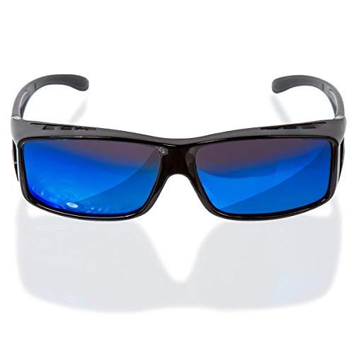 Oramics Sonnenbrille polarisiert Unisex Sonnen-Überbrille für Brillenträger, UV400 Überbrille für Damen und Herren - FIT OVER Sonnenbrillen werden über die normale Brille getragen (Schwarz - Blau)