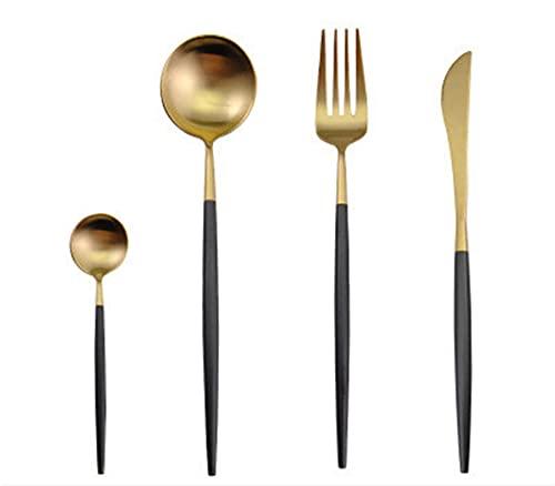 4 unids conjunto de cubiertos negros de acero inoxidable vajilla de vajilla de bifurz de bifurcación de bifurcación cucharadita de regalo de fiesta de la cocina conjuntos (Color : Black gold)