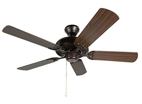 Hyperikon 42 Inch Ceiling Fan No Light, 55W, Remote Control and Pull Chain, Rust Body, 5 Blades, Oak