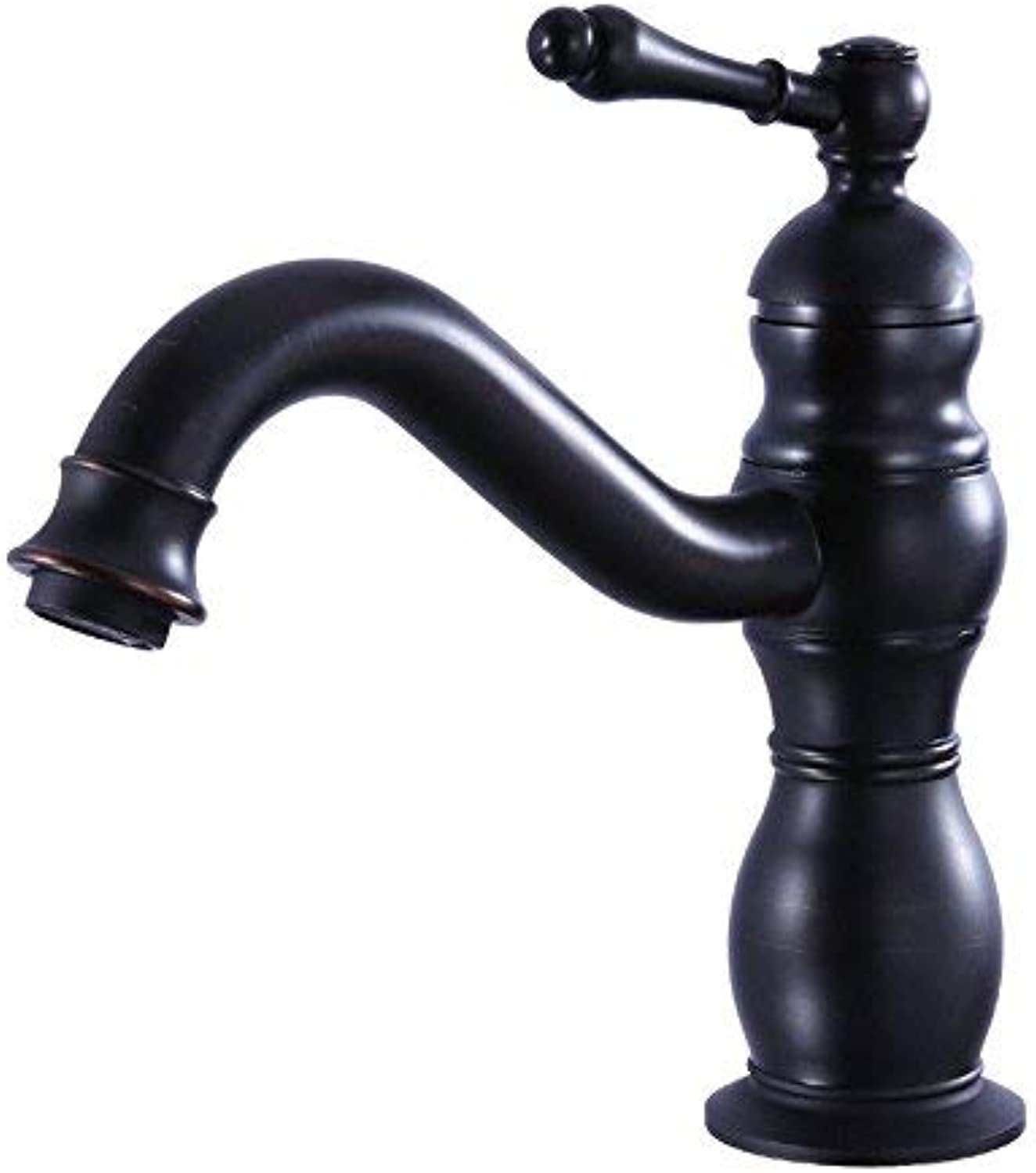 Oudan Bathroom Sink Basin Tap Brass Mixer Tap Washroom Mixer Faucet The Copper Black basin faucet black single hole hot and cold can be redated Kitchen Sink Tap