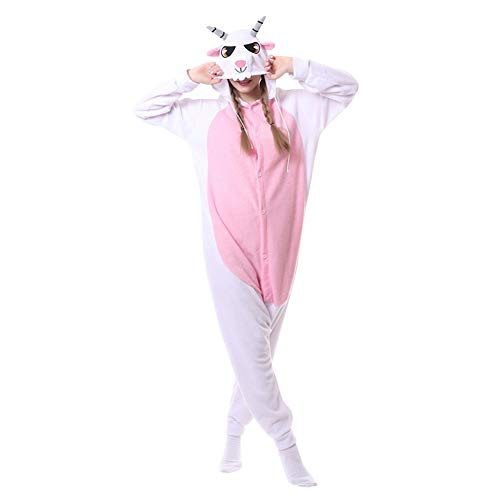 LSERVER Ropa de Dormir Disfraz de Cosplay para Adultos Traje de Unisexo Pijama de Forro Polar de Otoño e Invierno Estilo de Animales, Cabra, M