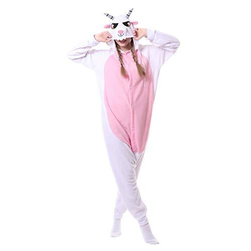 LSHEL Cosplay Jumpsuit Tier Cartoon Karneval Halloween Kostüm Fleece Overall Pyjamas Unisex Erwachsen Einteilige Pyjamas, Ziege, M(158-168cm)