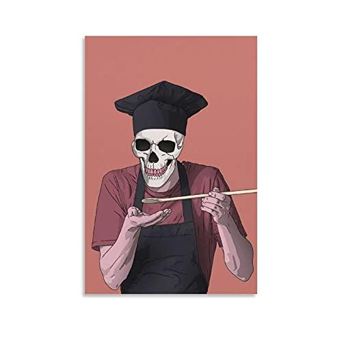 qinge Póster de chef esqueleto, pintura decorativa en lienzo para pared, para sala de estar, dormitorio, 40 x 60 cm