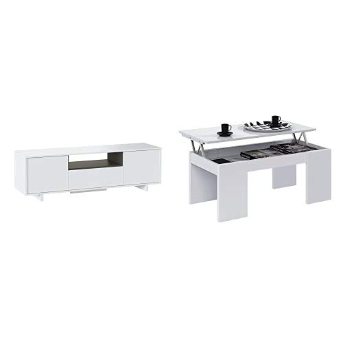 Habitdesign 0G6631BO - Mueble de Comedor TV Moderno , Color Blanco Brillo...