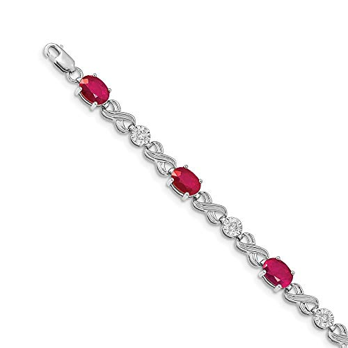 5mm 14ct White Gold Diamond and Ruby Bracelet Jewelry Gifts for Women