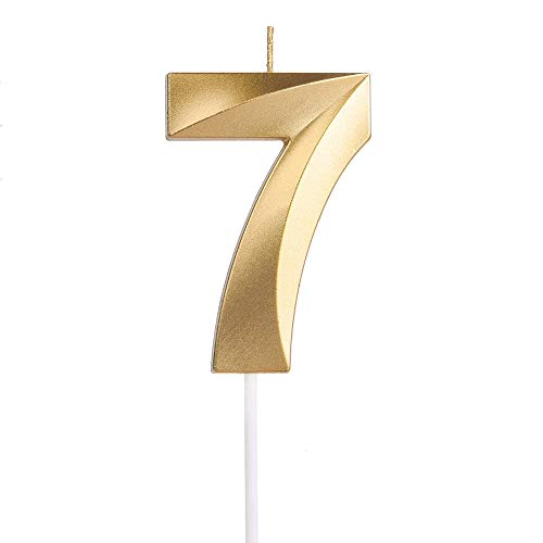 Yue QIN Compleanno Candele Compleanno Candele Numerali Glitter d'oro Candele Candele per Feste e Compleanni per Rifornimenti di Celebrazione di Anniversario di Matrimonio di Compleanno(Numero 7)
