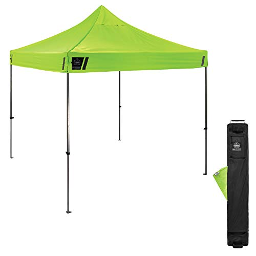 Pop Up Canopy Tent, Heavy Duty, 10' x 10' Area, Peak Height 14', Includes Wheeled Bag, Ergodyne Shax 6000, Lime