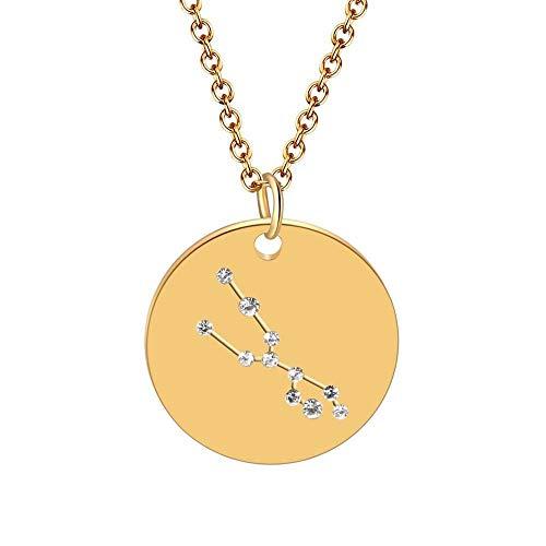 DDDDMMMY Halskette,12 Sterne Sternzeichen Sternbild Stier Zeichen Astrologie Disc Galaxy Horoskop Anhänger Halsketten Collier Weibliche Party Geburtstag Geschenk