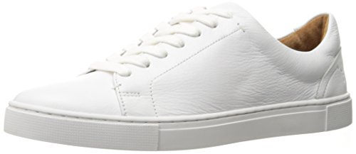 Frye Women's Ivy Low Lace Sneaker, White Tumbled Cow Leather, 5.5