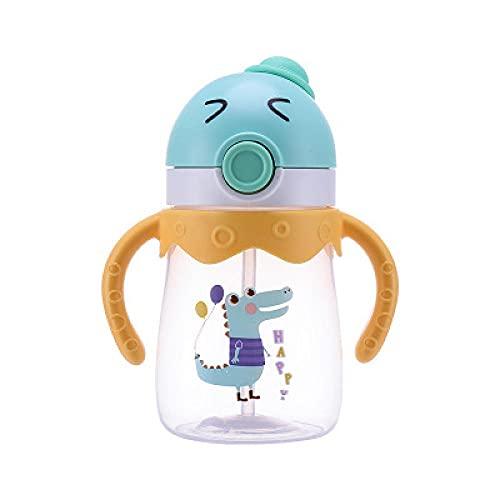 Yidieman Botella Deportiva,Botella de Agua portátil para niños de Dibujos Animados con Mango de Paja-Green_350ML,Gimnasio,hogar,Oficina,Actividades al Aire Libre