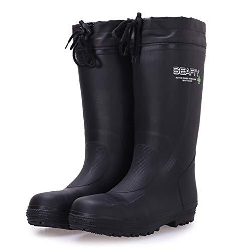 ZYFXZ Zapatos de Seguridad Dedo del pie Botas Wellington de Acero de los Hombres del Casquillo Resistente a Altas temperaturas Botas de Goma, con extraíbles Felpa Calcetines Botas de Trabajo