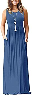 AUSELILY Women's Summer Sleeveless Loose Plain Maxi Dress...