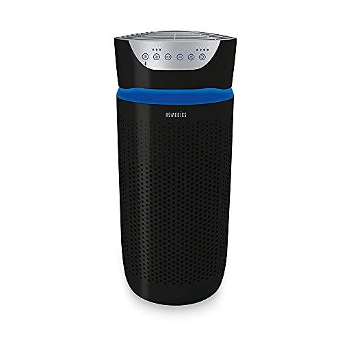 Homedics Total Clean Tower Purificador de aire – Gran máquina purificadora de habitación 5 en 1 con luz nocturna, filtro de olor de carbono e ionizador negro