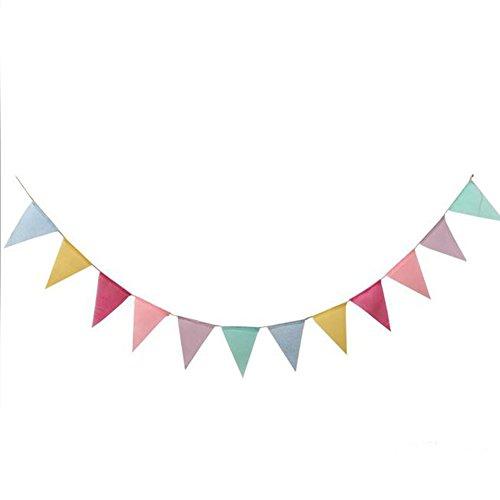 Monbedos Lot de 12 drapeaux imités en toile de jute, bannières et fanions triangulaires multicolores pour anniversaire, Tea Party, fête de mariage et cérémonies, style 1, 12.5*17CM*12pcs+4m rope