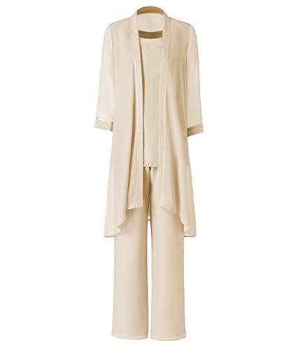 Pretygirl Damen 3 Stück Satin Chiffon Kleid für die Brautmutter Hose mit Jacke Outfit für Hochzeit Bräutigam(US 18 Plus, Champagner)
