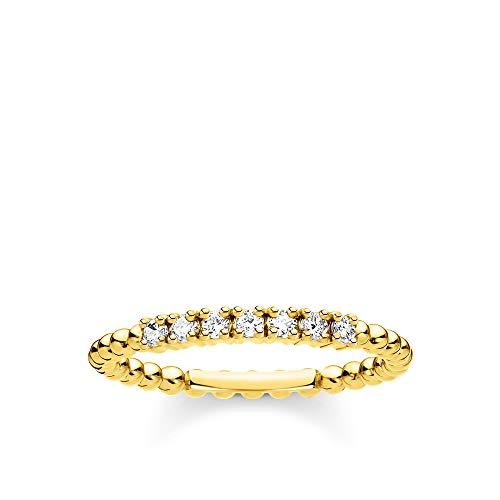 THOMAS SABO Damen Ring Kugeln mit weißen Steinen Gold 925 Sterlingsilber, 750 Gelbgold Vergoldung TR2323-414-14