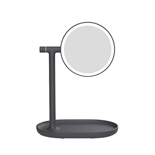 LICCC Reversible Beauty Mirror doppelseitige HD-Füllobjektiv-wiederaufladbare Desktop-LED-Spiegel 24 * 32 cm (Color : Black)