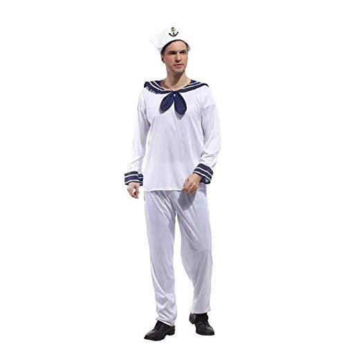 thematys Kapitän Seemann Matrose Kostüm Weiß-Blau - Kostüm für Erwachsene - perfekt für Fasching & Karneval - Größe 170-185cm