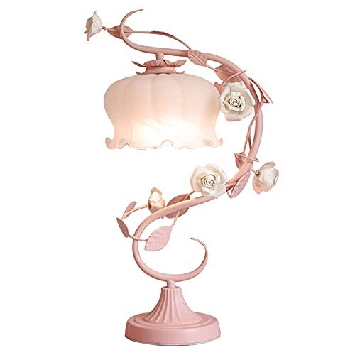 TBUDAR Lámpara de mesita de Noche Lámpara de Mesa Rosa romántica con una Pantalla de Cristal Blanca y Flores de cerámica Brillante, lámpara para Dormitorio Lámpara de Mesa