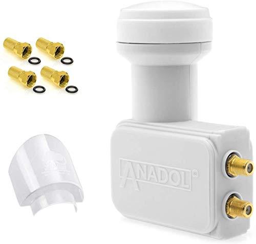 [ Test 2X SEHR GUT ] Anadol GoldLine Digital Twin LNB 0.1dB kälte/hitzebeständig (-30 bis 60°C)-für 2 Teilnehmer - Premium Qualität - LNB mit Gummitülle + 4 F-Stecker + LNB Wetterschutz-Haube