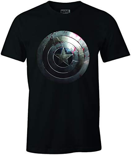 Marvel Captain Shield Silver, T-Shirt Manica Corta Uomo, Nero (Noir), Large (Taille fabricant: L)