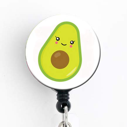 Kawaii Avocado - Retractable Badge Reel with Swivel Clip and Extra-Long 34 inch Cord - Badge Holder Nurse