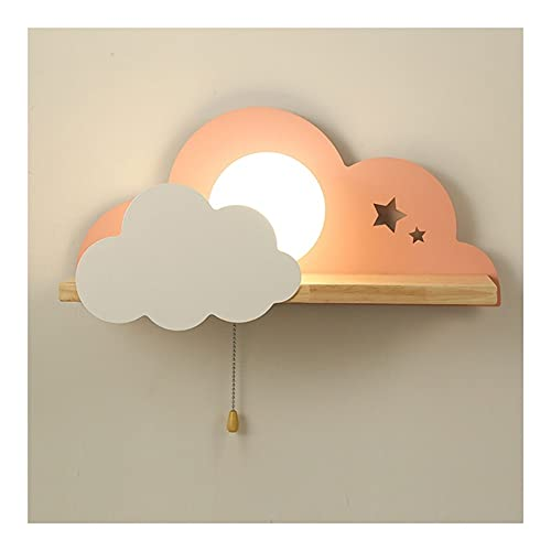 Luz de pared de la nube de hierro forjado, lámpara de pared moderna, iluminación de la pared de la pared de madera E27 Lámpara de cristal Luz interior Luz de la pared de la sala de estar de la sala de