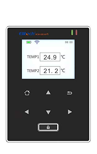 Elitech RCW-600WiFi Medidor de Temperatura de Dobles Sensores, Registrador Termometro con Sonda Externa, Alarmas por APP, Operación remota por ELITECH Cloud, para Restauración, Logística, Med