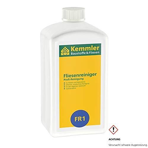 Kemmler Fliesenreiniger FR1 – 1 Liter/Flasche Für Feinsteinzeug, Fliesen und alle glatten, glänzenden Oberflächen Für den Innen- und Außenbereich kraftvoller Reiniger für den täglichen Einsatz