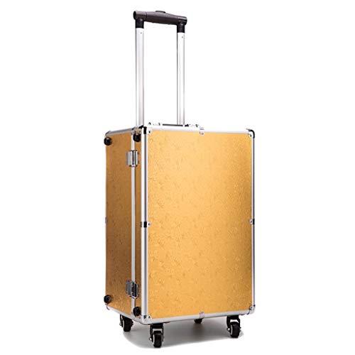 Handwagen Trolley Cosmetic Case Universal Rad Aluminium Rahmen Koffer, Reisekoffer, Boarding Box, Unisex, T-C, Gold