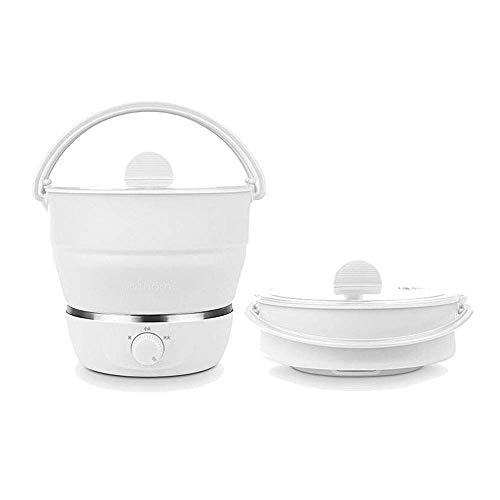 Foldable Electric Hot Pot Cooker Mini Kettle Food Grade Silicone Cookerware Boiling Water Steamer Portable Travel Global Use-White