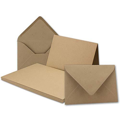 25x Vintage Kraftpapier Falt-Karten Set mit Umschlägen DIN A5-14,8 x 21,0 cm - braun - Recycling - Klapp-Karten blanko I Umwelt by Gustav NEUSER®