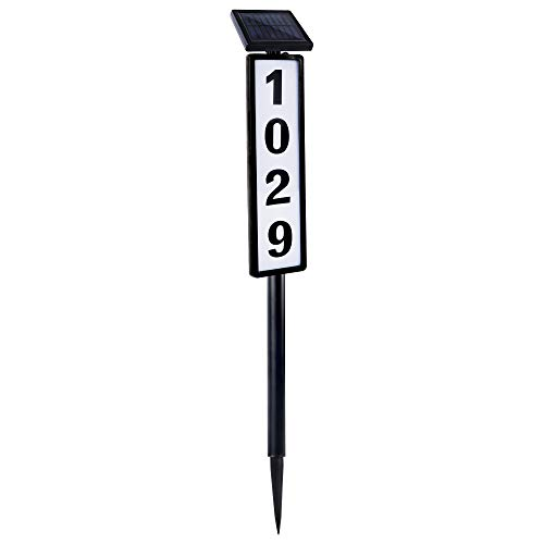FORUP Solar Lighted House Address Numbers Sign, Solar Powered House Numbers Light, LED Illuminated Outdoor Address Plaque for Home Yard Garden House