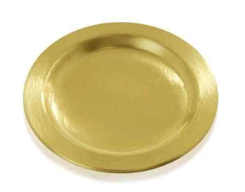 Kerzenteller Rund in Gold 11 cm für Stumpenkerzen bis Ø 8 cm - 9039 - Metallteller - Dekoteller rund