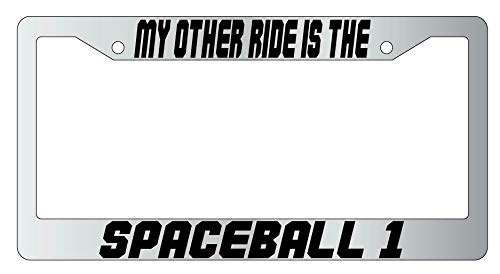 License Plate Frames, My Other Ride Is The Spaceball 1 Metal License Plate Frame Spaceball Universal Car License Plate Bracket Holder Rust-Proof Rattle-Proof Weather-Proof 15x30cm