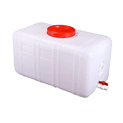 Tanque De Agua Al Aire Libre Camping Camión Portátil Contenedor De Almacenamiento De Agua Cubo De Bebida De Plástico Grueso Casero Horizontal con Grifo Y Tapa, Capacidad 25L-200L A++(Size:50L)